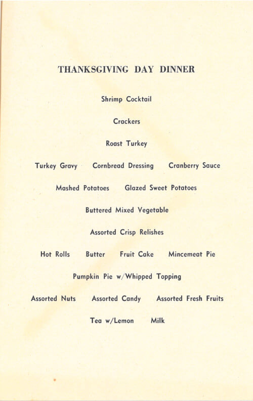 Thanksgiving Dinner Menu, Vietnam 1967