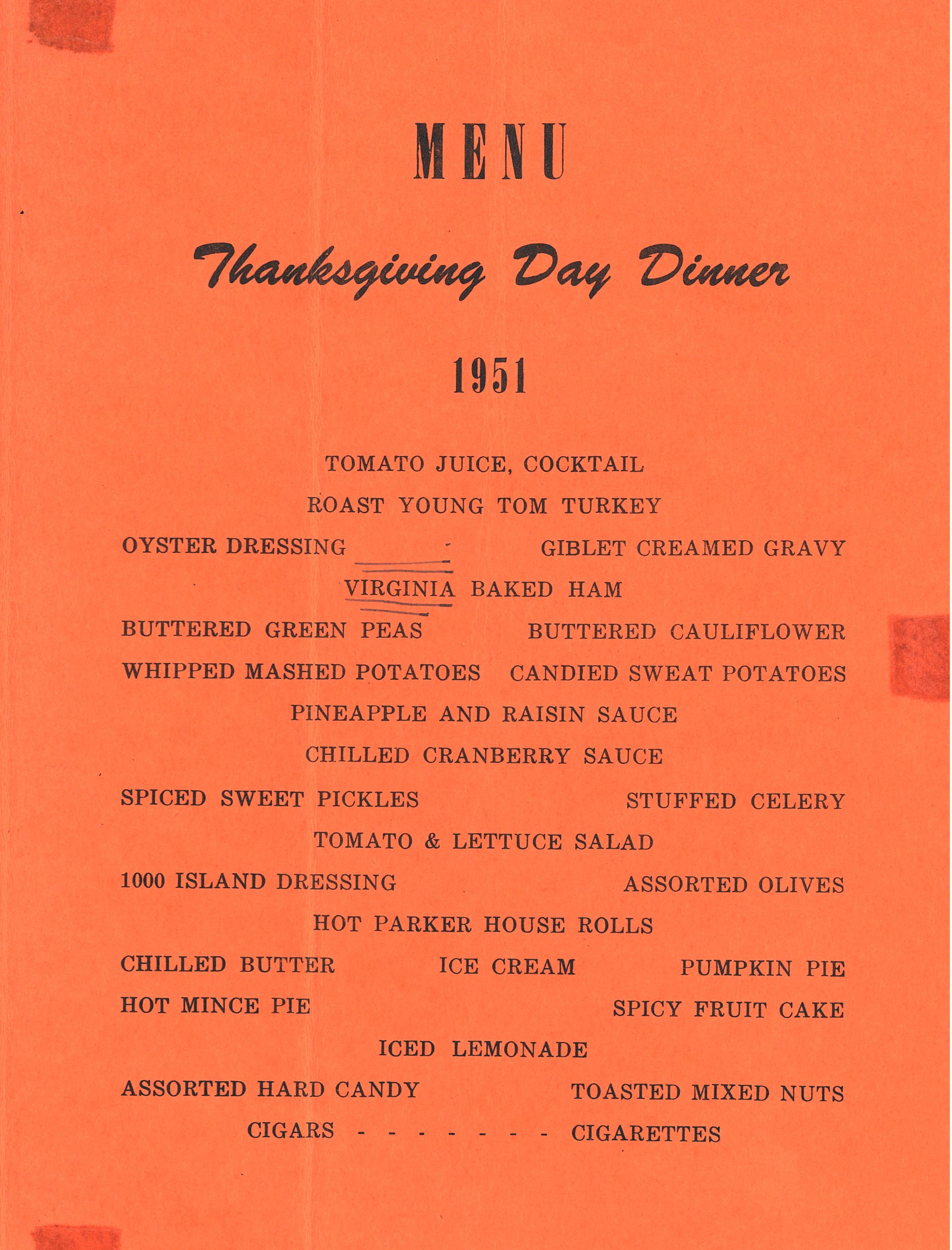 Thanksgiving Menu, Guam, 1951