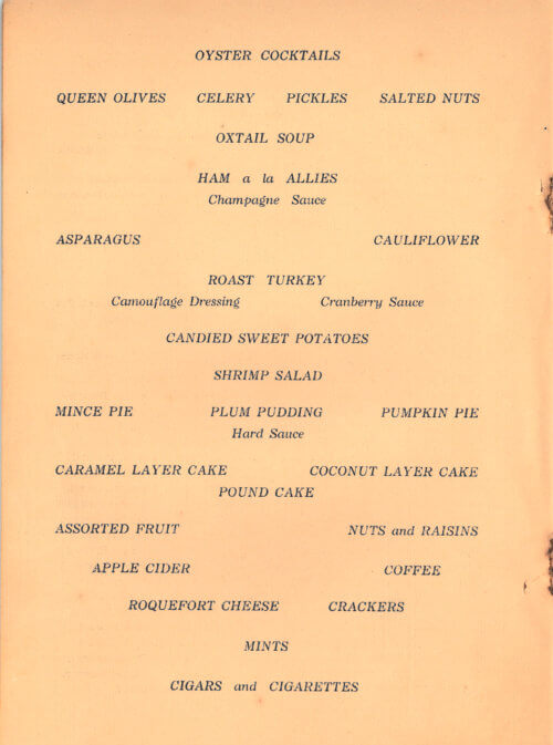 Camp Lee Thanksgiving Menu, 1917