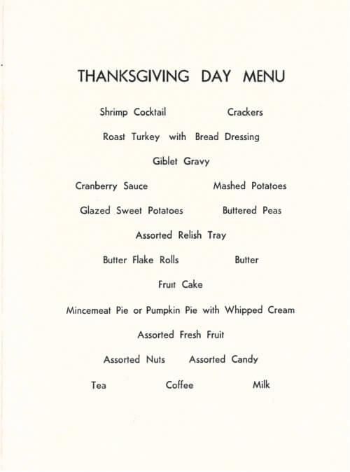 Thanksgiving Day Menu, Vietnam.