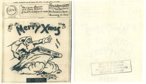 1944 Christmas V-Mail from Jesse Bradley to his wife, Lillian.