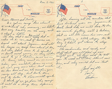 Letter from Clendon Pleasants to his parents, dated 8 December 1941.